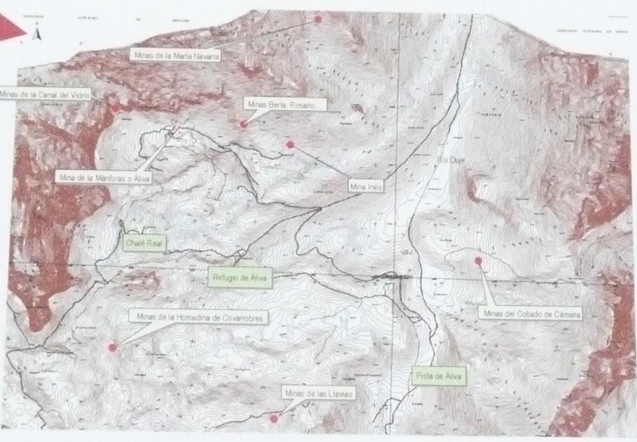 Mapa de las principales minas de Áliva. Panel informativo colocado por el Parque Nacional